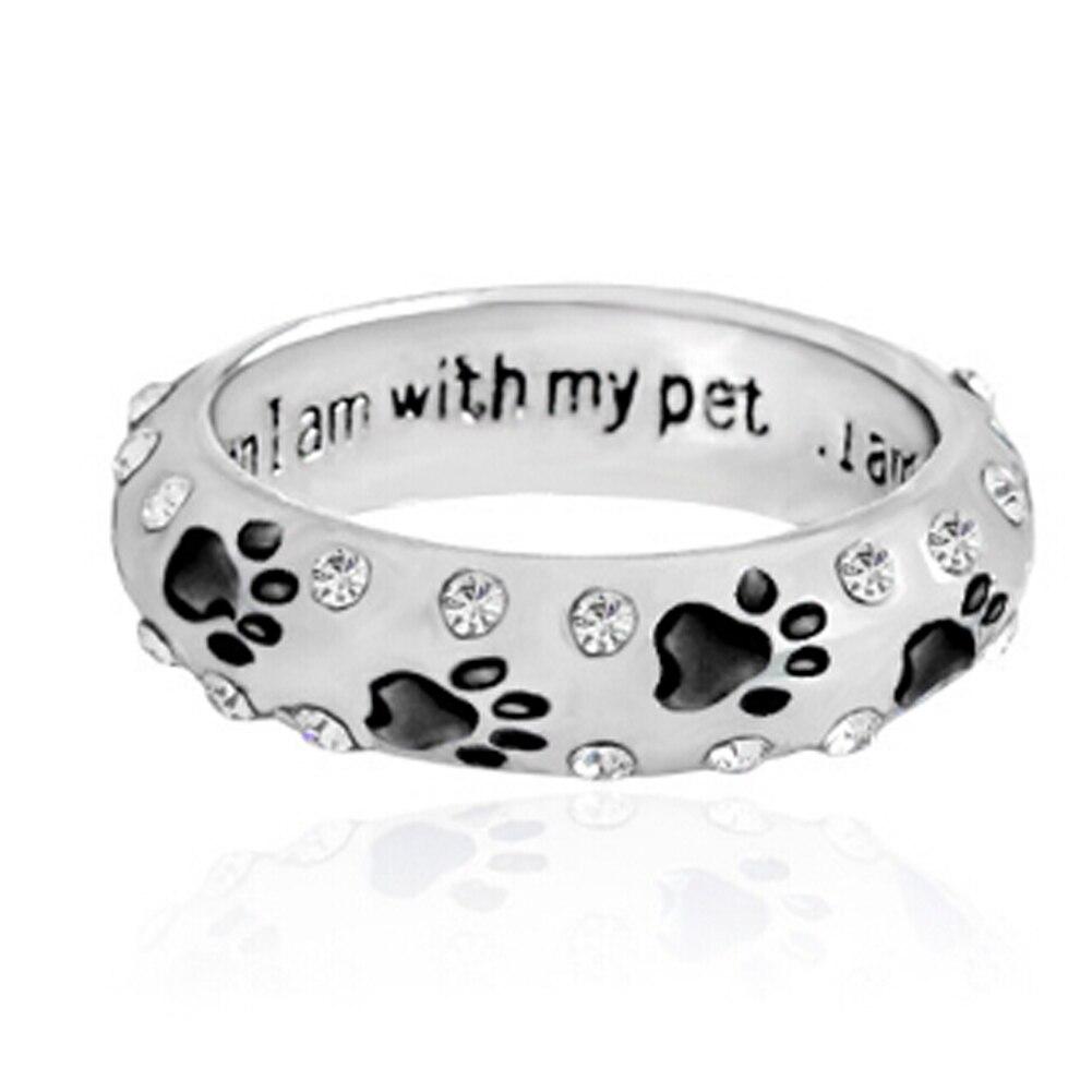 1 StÜck Hund Klaue Strass Ring Für Frauen, Wenn Ich Mit My Pet Tier Haustier Ring Hund Pfote Fußabdrücke Ring Schmuck Gute QualitäT