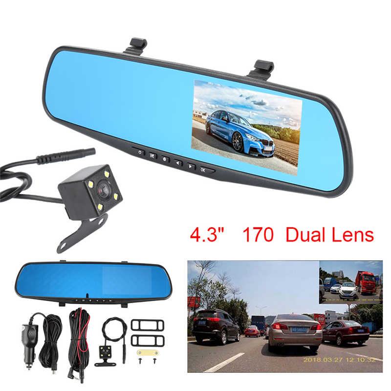 "POPSPARK 1080P HD 4.3"" LCD Display Ultra Wide Angle Front Rear Camera Dual Recording Driving Recorder On Rear View Mirror"