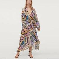 TEELYNN Boho dresses rayon striped print dresses v neck long sleeve summer dresses Irregular hem women dresses Gypsy Vestidos
