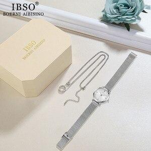 Image 5 - IBSO מותג נשים שעון סט כסף שרשרת קוורץ שעון סט נשי תכשיטי סט האופנה Creative קריסטל קוורץ שעון גברת של מתנה