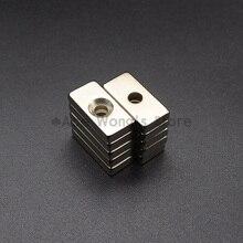 5 шт. 20 мм x 10 мм x 4 мм отверстие: 4 мм N35 Супер Сильные неодимовые магниты блок кубовидный редкоземельный магнит 20x10x4 мм