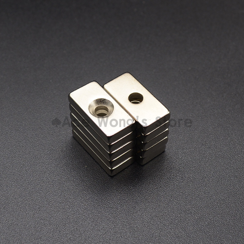 5Pcs 20mm x 10mm x 4mm Hole: 4mm N35 Super Strong Neodymium Magnets Block Cuboid Rare Earth Magnet 20 x 10 x 4 mm hakkin 5pcs super strong neodymium magnet block cuboid rare earth magnets n35 20 x 10 x 2mm