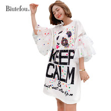 2019 Summer loose dresses fashion sequins gauze flare sleeve women