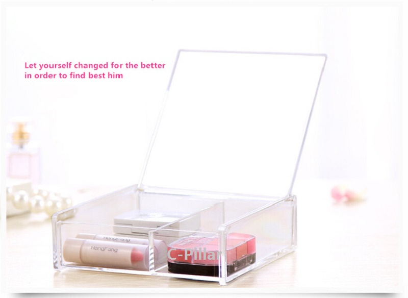New Acrylic Boxes With Lids Clear Makeup Comestic Case Desktop Storage Home Storage Boxes Free Shipping
