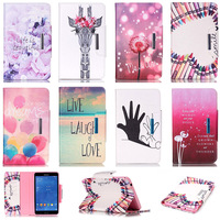 For Samsung GALAXY Tab 4 7 0 T230 Case Cartoon Pattern PU Leather Flip Protector Back