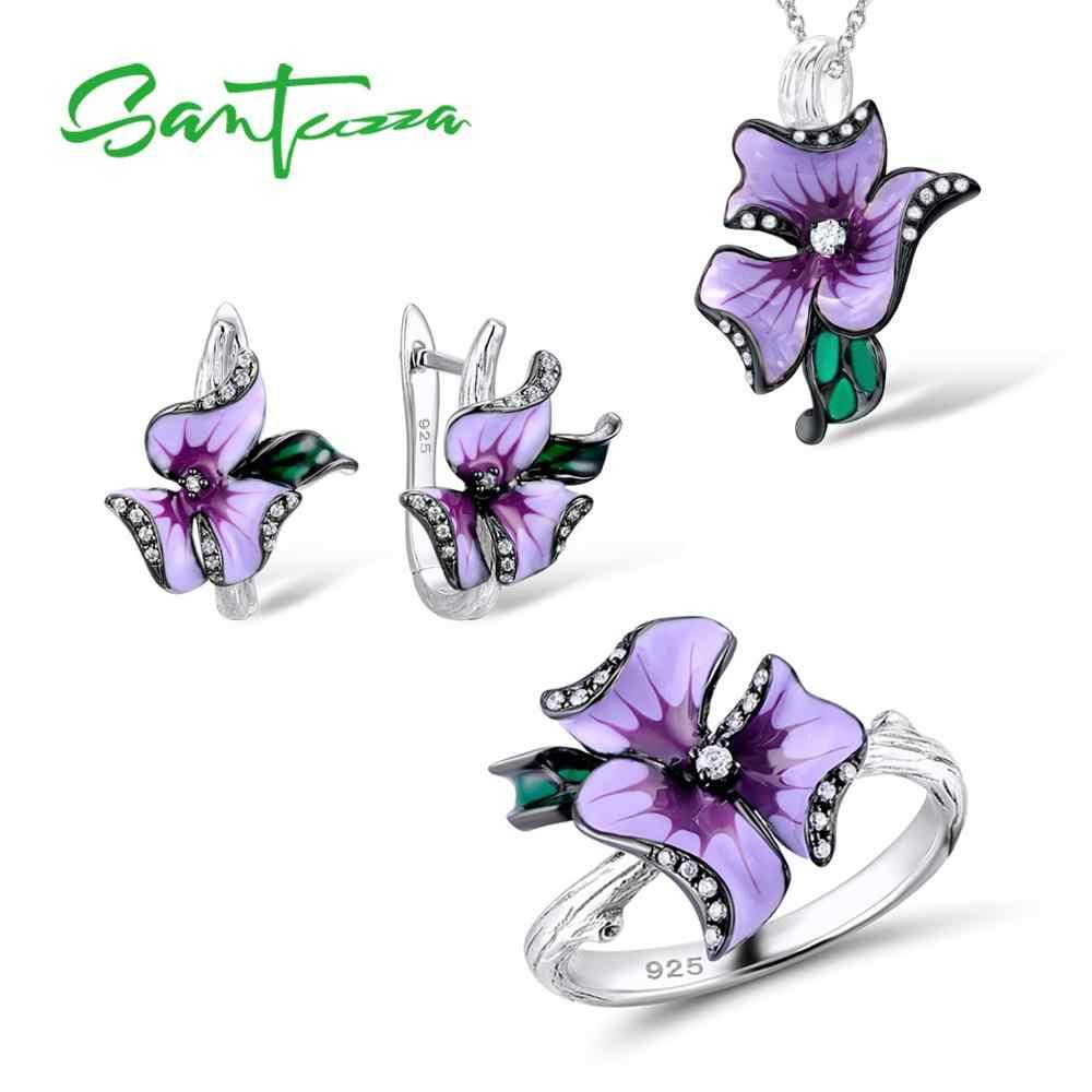 d063f2d472fc SANTUZZA комплект ювелирных изделий ручной работы эмаль элегантный розовый  цветок кольцо серьги кулон 925 пробы серебро