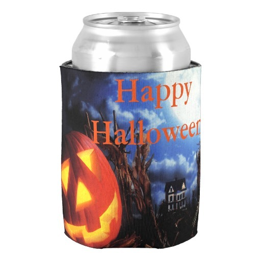 halloween can coolerhaunted scene can cooler happy halloween party gift favors beverage insulator for kids beer can holders in wine coolers chillers from
