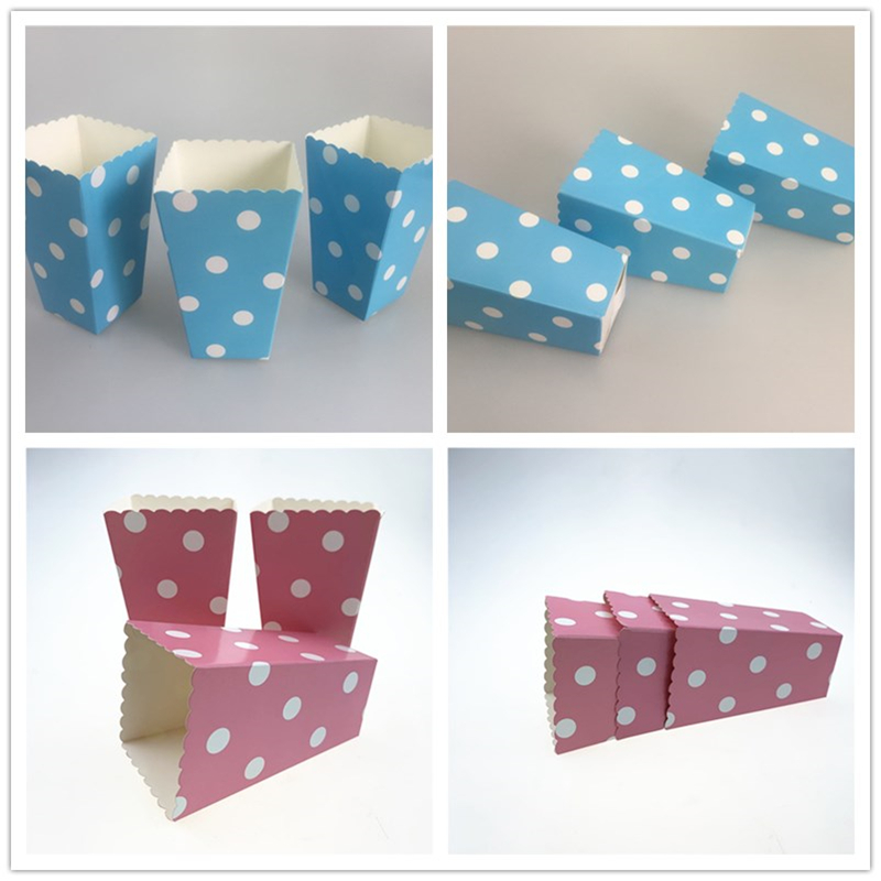 12pcs/lot Blue /Pink Polka Dot Paper Popcorn Box Birthday Wedding Party Deco Popcorn Cups For Movie Theater Anniversary Supply