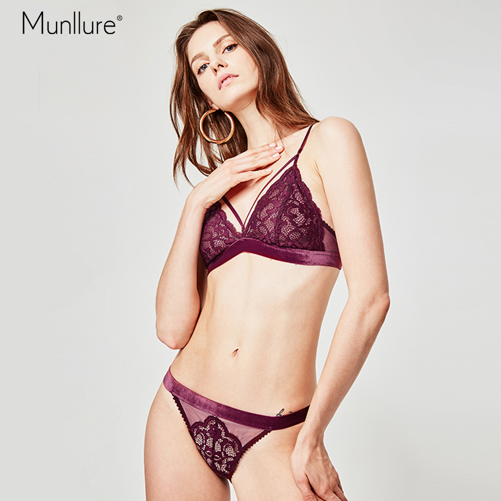 8e5784e655 Munllure Flower red lace bra gathered chest sexy no steel ring on the  collection anti-. US  15.64. Munllure Ultra thin Monet Floral Women Bra Set  ...