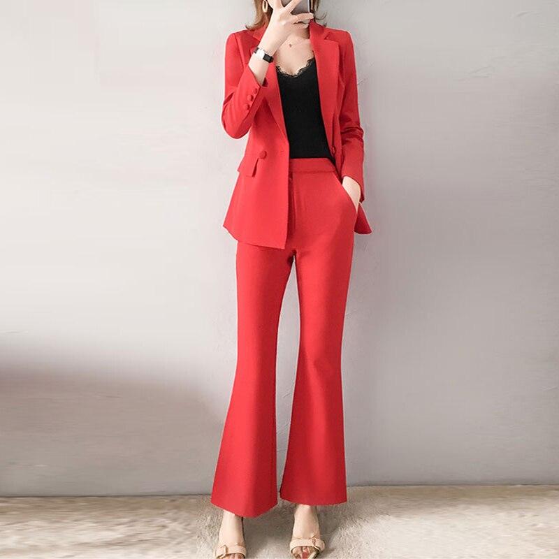 Kadın Giyim'ten Kadın Setleri'de Kırmızı RoosaRosee 2019 Moda kadın Giyim Twinsets Ofis Bayan Kırmızı Turn down Blazer Tops + Flare Pantolon Iki parça Set OL Takım Elbise'da  Grup 1