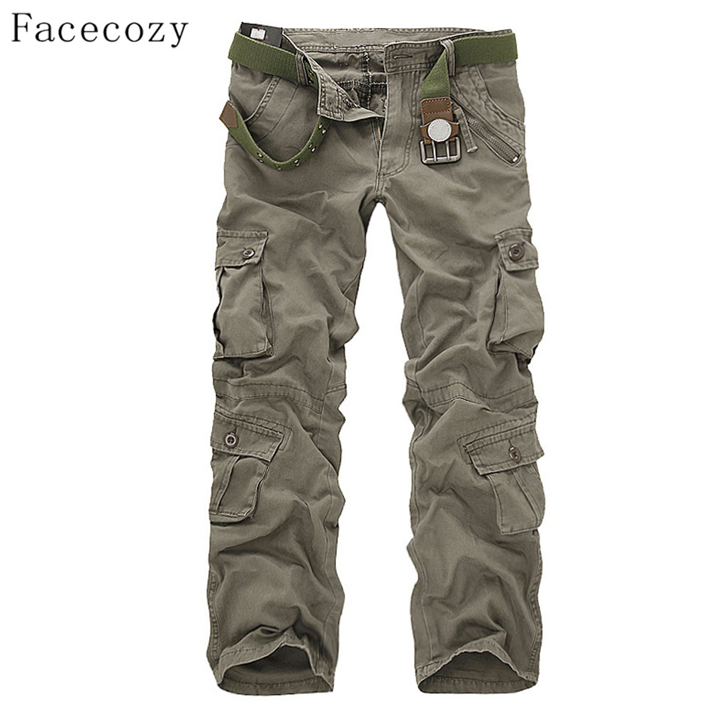 Facecozy Men Autumn Tactical Military Sports Pant Male Outdoor Multi-pockets Hiking Loose Style Trouser facecozy men spring