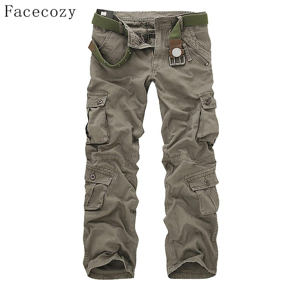 Facecozy hombres otoño militar táctico deportes masculinos al aire libre multi-bolsillos senderismo sueltas estilo Pantalones