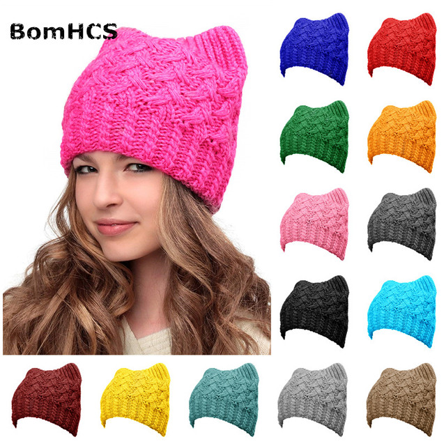 1fb2a811e5f BomHCS Hats Cats Ears Pink Pussy Cat Handmade Knit Beanie Winter Women Girls  Caps