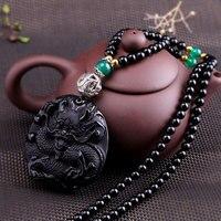 100% S925 sterling silver natural semi precious stone obsidian dragon sweater women's chain pendant