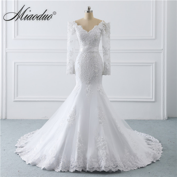 vestido branco Cheap Lace Mermaid Wedding Dresses 2018 Sexy Boat Neck Long Sleeve Wedding Dress China