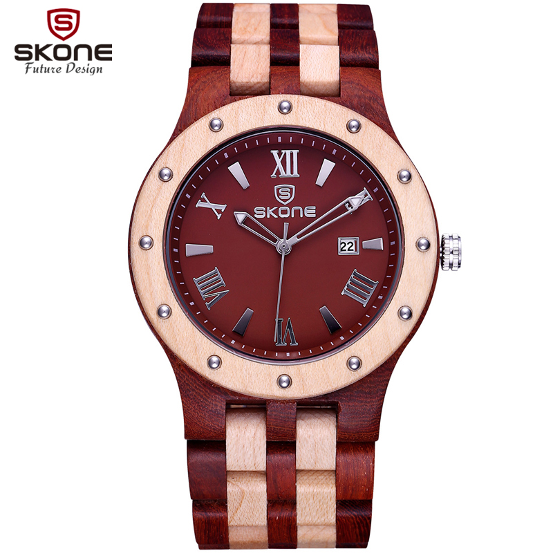 SKONE Quartz Wooden Mens Watches Top Luxury Brand Wood Watches For Men Simple Dress Wristwatch Clock Male Relogio Masculino 2017