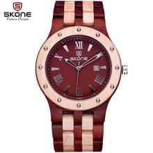Skone cuarzo mens relojes de lujo superior marca de relojes de madera de madera de los hombres simple vestido reloj reloj masculino del relogio masculino 2017