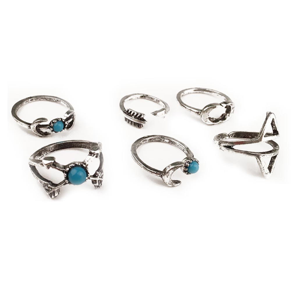 6PCS Vintage Turkish Beach Punk Moon Arrow Ring Set Ethnic Carved Silver color Boho Midi Finger Ring Knuckle Charm anelli