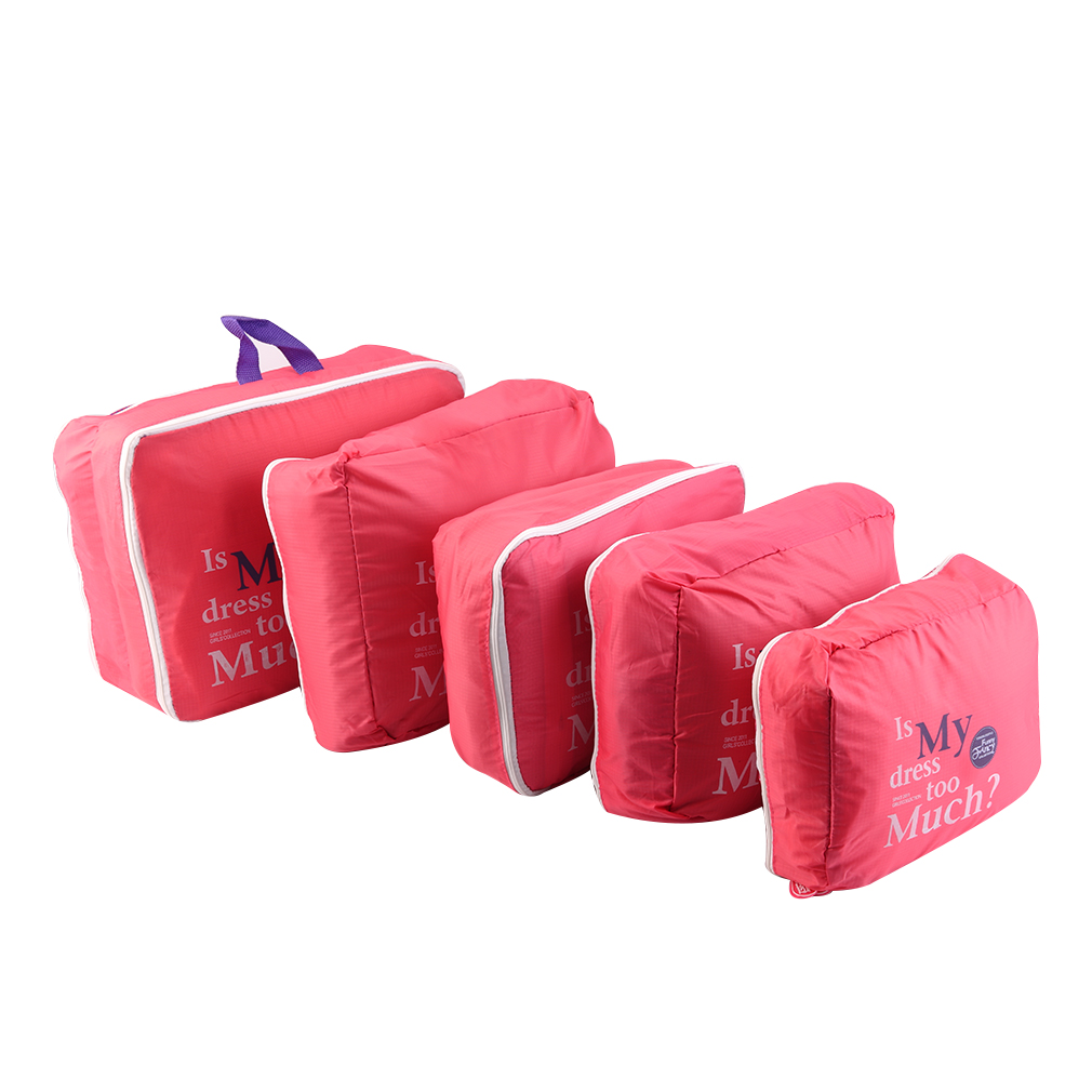 Hot Sale 5pcs/Set Pink Nylon Waterproof Clothes Storage Bags Packing Cube Travel Luggage Organizer Bag
