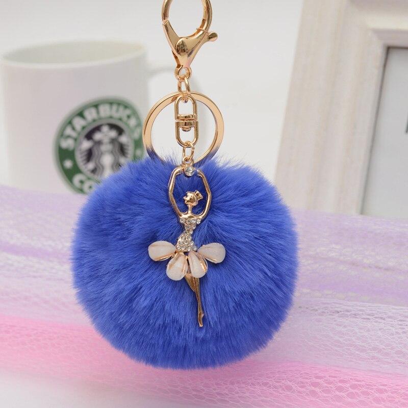 Felyskep Fashion Ballerina Girl Fluffy Imitated Rabbit Fur Ball Keychain for Women Bag Acessory A692WA