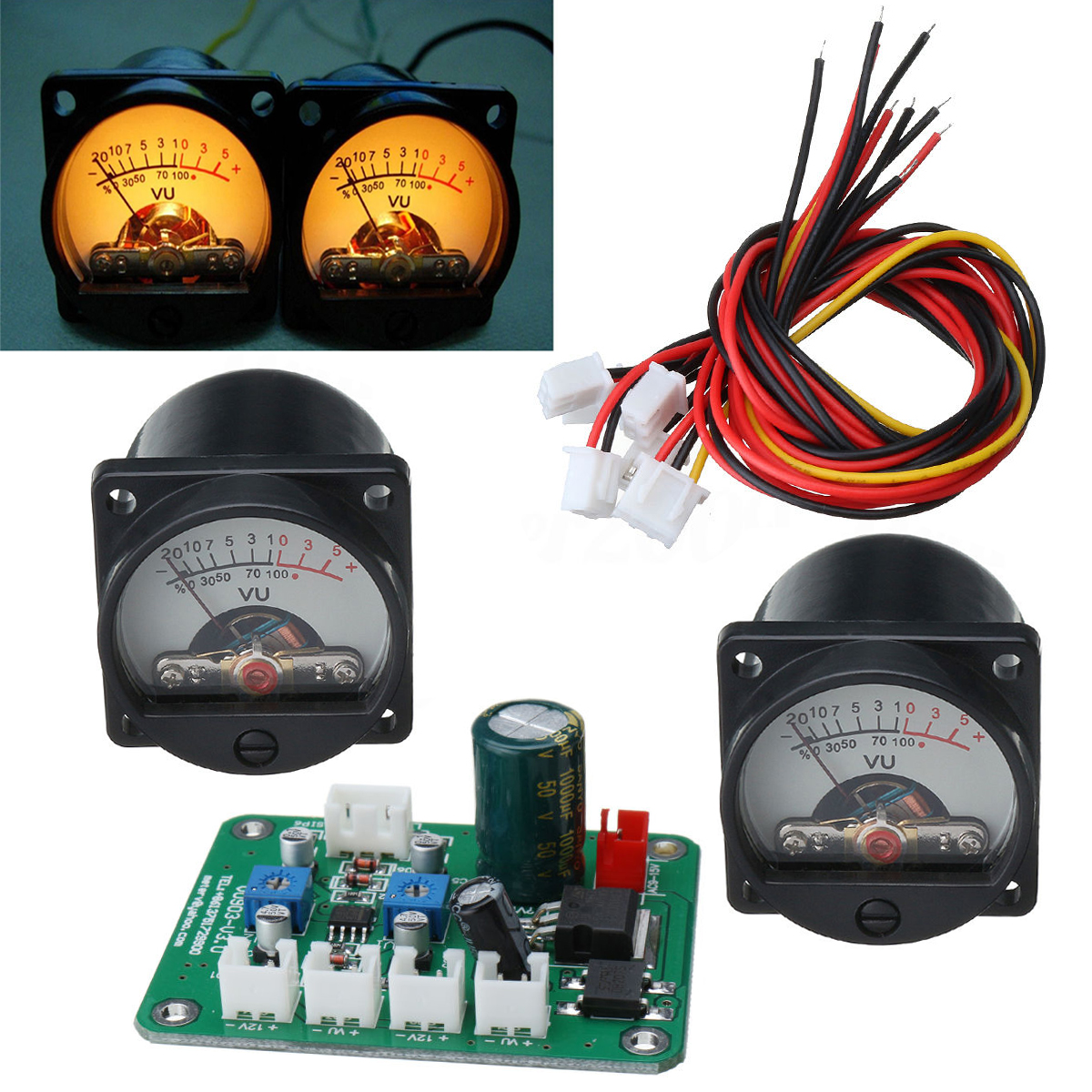 2pcs 10-12V Analog VU Panel Meter 500UA Warm Back Light Recording Level Meter + Durable Driver Module Board + Cable Mayitr