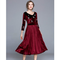 HANZANGL Autumn And Winter Women Dresses 3 4 Sleeve V Neck Floral Embroidery Velvet Dress Work