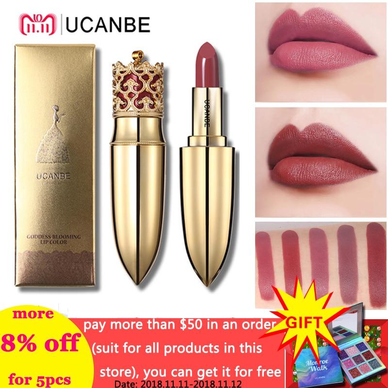 UCANBE Brand Crown Velvet Matte Lipstick Makeup Golden 5 Color Nude Long Lasting Pigment Lips Stick Natural Cosmetic Lip Rouge
