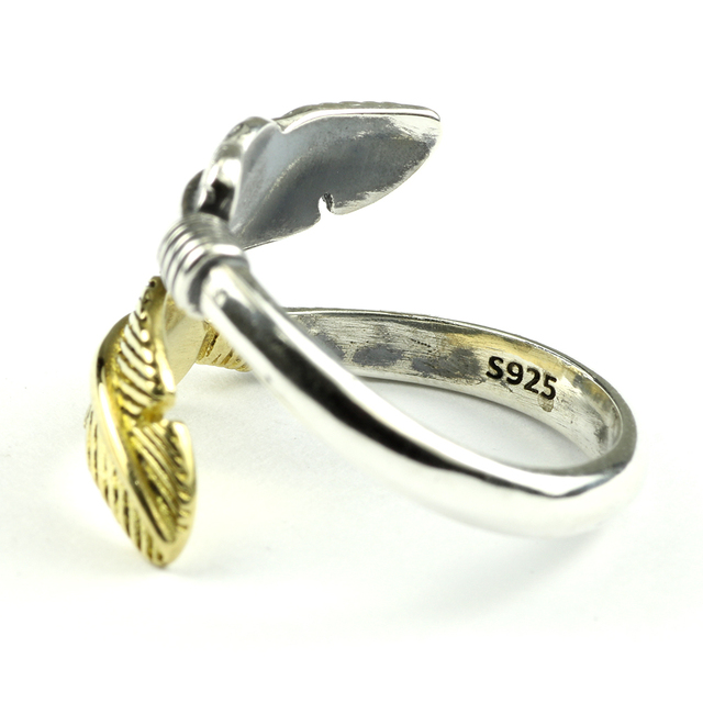 925 Sterling Silver Feather Ring 4