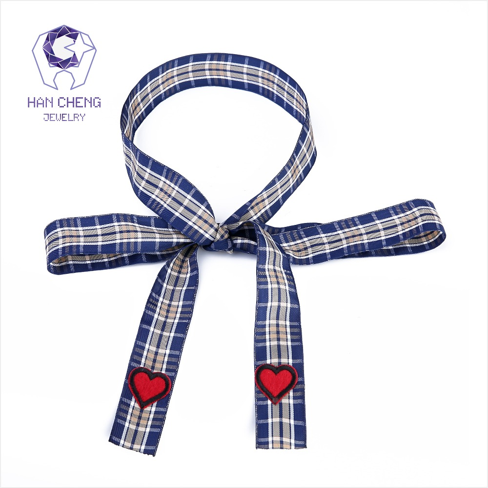 HanCheng New Fashion Cloth Plaid Bow Tie embroidery Heart Ribbon Choker Necklace Women Necklaces Knitting collar jewelry bijoux