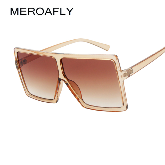 4c1bd69533a ... MEROAFLY Cheap Oversized Square Sunglasses Women Big Frame Fashion Sun  Glasses Brand Designer 2018 New Clear ...