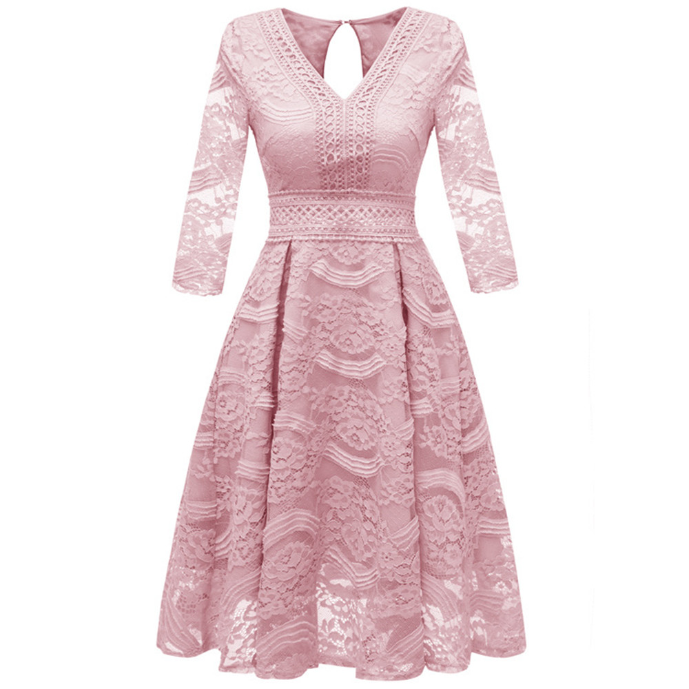 Autumn Sexy Winter Women Dress Vintage Slim Hollow Out Solid Dresses Female Elegant V-Neck A-Line Lace Party Dress Vestidos