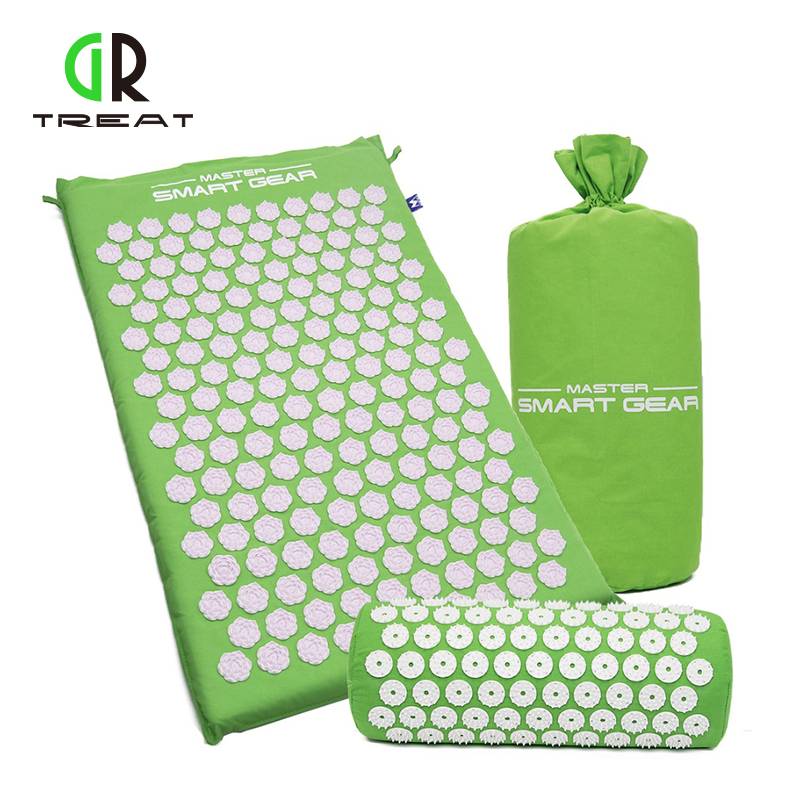 GR Treat Green Foot Massager Cushion Acupressure Mat Relieve Stress Pain Acupuncture Spike Yoga Mat with Pillow цена 2017
