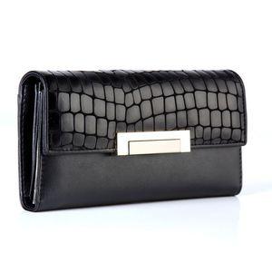 Image 2 - Moda kadın cüzdan hakiki deri yüksek kalite uzun tasarım debriyaj dana cüzdan moda kadın çanta Portefeuille Femme 168