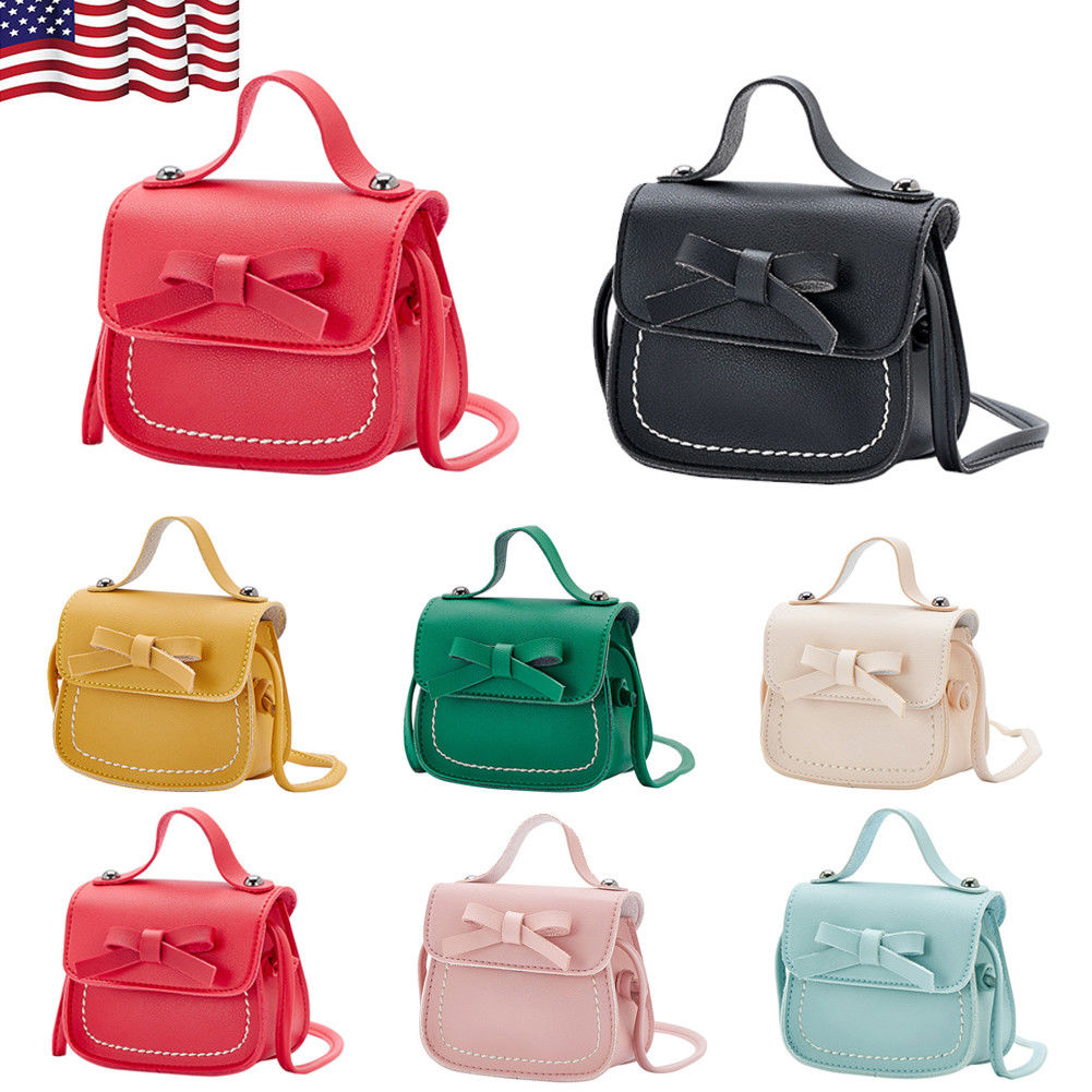 US Kids Girls Bowknot Shoulder Bag Crossbody Sling PU Leather Wallet Handbags