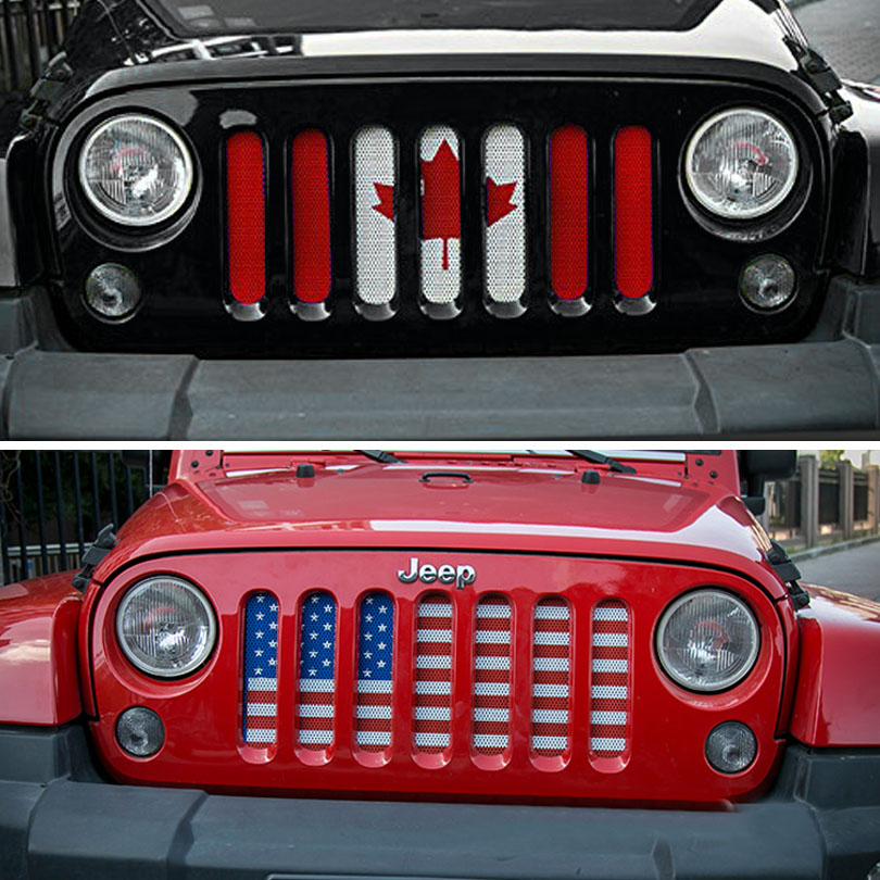 American USA Canada Flag Steel Mesh Grille Insect Bug Deflector Screen Insert Grill Cover for Jeep Wrangler JK JKU 2007-2017 front grill mesh grill insert set cover front grille sticker racing grills trim for jeep wrangler jk 2007 2015