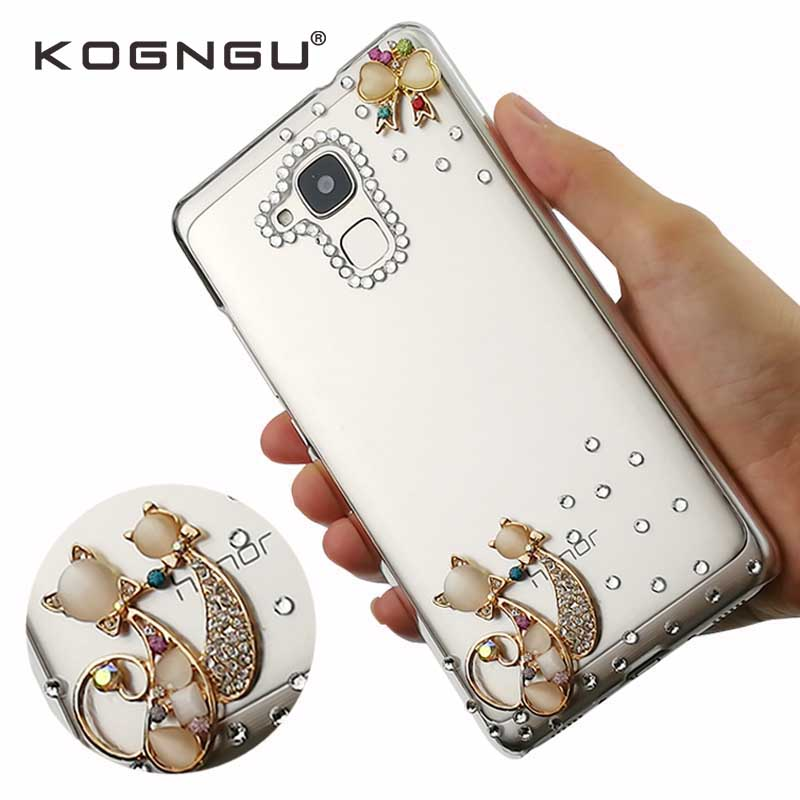 Kogngu Crystal Phone Cases for Huawei Honor 5C Cover Luxury Rhinestone Soft Tpu Cases for Huawei Honor 5C Mobile Phone Shell