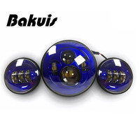 Bakuis Blue DOT 7 Projector moto Headlight + 4.5 Auxiliary Passing Fog Lights Set For Harley Davidson