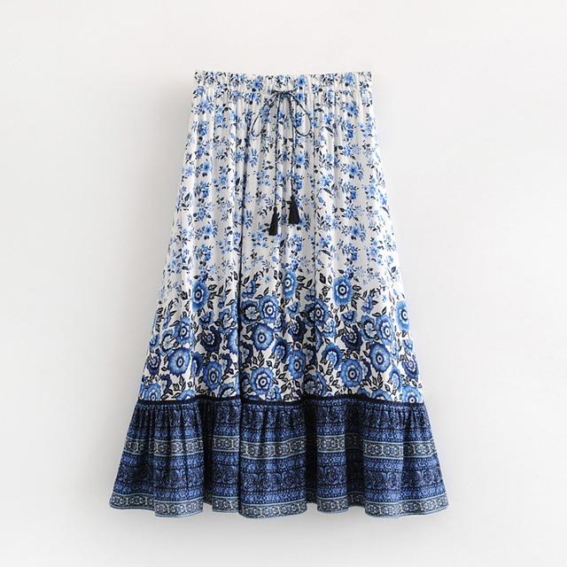 525f4ba507b4f US $16.98 |summer 2018 boho midi skirt befree blue floral print skirts  womens bohemian faldas largas elegantes harajuku plus size tie waist-in  Skirts ...