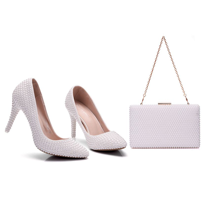 Crystal Queen Pearl White Women's Wedding Pumps High Heel Wedding Shoes Bridal Party With Matching Bags With Purse Dress Shoes