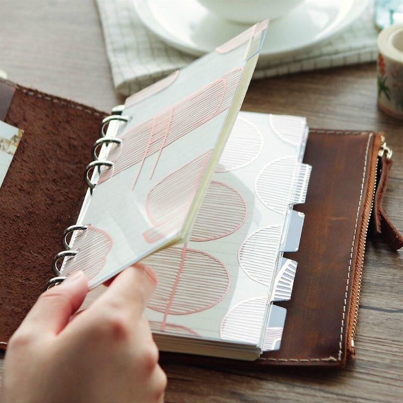 5 Stücke A5/a6 6 Löcher Pvc Rosa Notebook Index Seite Lose Blatt Milchnote Buch Teiler Innere Planer Index Isolation Seiten Notebooks