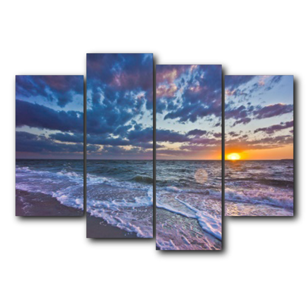 Laeacco Sea Sunrise Posters and Prints Sky Cloud Wall Artworkwork Modern Canvas Painting Living Room Bedroom Home Decor in Painting Calligraphy from Home Garden