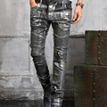 Top Quality Autumn New Fashion Mens Punk slim leather pants Slim Fit long mid waist paint Skinny causal trousers 28-38