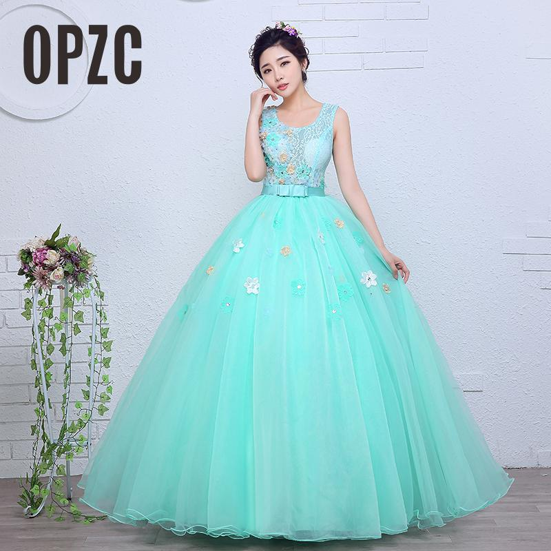 Lace With Flower Organza Colored wedding dress 2019 New Spring and Summer Korean Style Green Princess