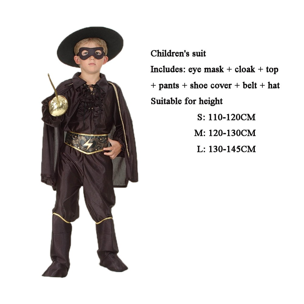Free Shipping Zorro Cosplay Costume Adult male COS Zorro Assassin suit Female Zorro cloak eye mask/adult Halloween Party Clothes