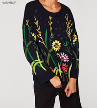 WISHBOP NEW 2017 Fashion Woman Navy Blue Round neck sweater with long Floral embroidered sleeves Loose Knitted Sweaters