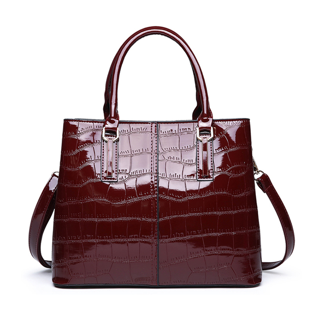 Patent Leather Stone Pattern Ladies Handbag New Fashion High Quality Casual Wild Shoulder Messenger Bag Middle-Aged Mother Bag