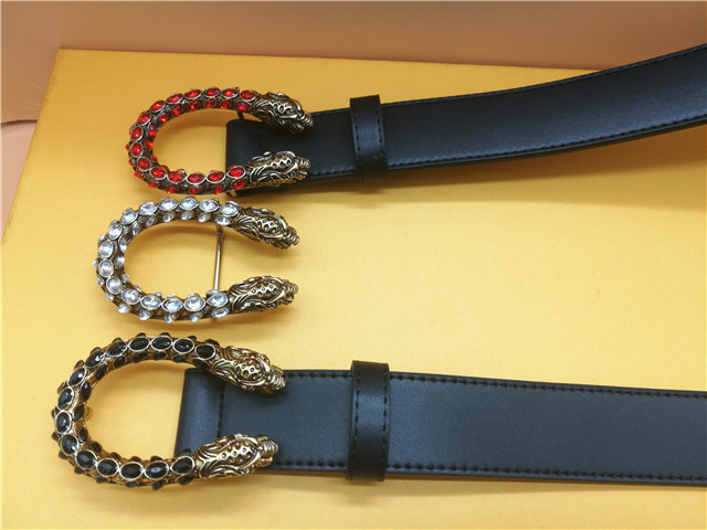 The most popular women's belt bee and snake head smooth buckle belt of the year girl fashion gem leather brand belt