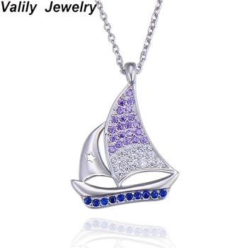 ef7a78f0072e Valily Barco de las mujeres de moda COLLAR COLGANTE de plata 925 cadenas collares  para mujer pavimentada de circonio claro collar de la joyería para las ...