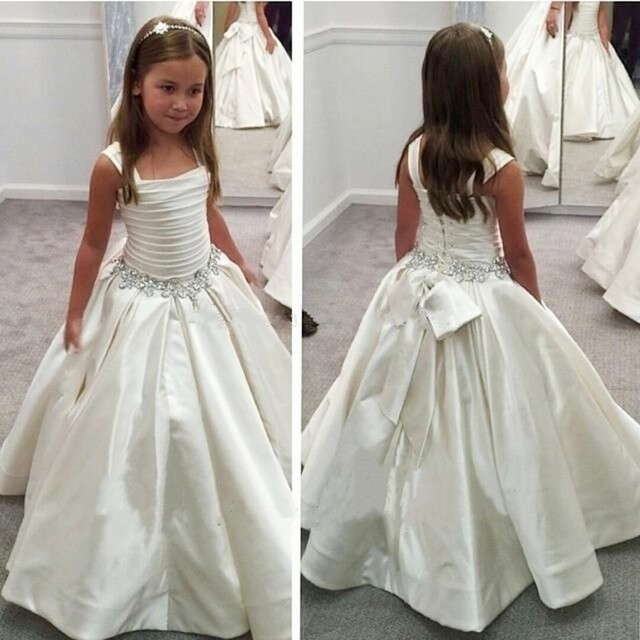 White Satin Flower Girl Dresses Ball Gown Crystal Beaded Ruched Lace