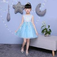 TF008 קשת על גב ללא שרוולים ילדים נצנצים שמלת רויאל בלו שמלות ילדה פרח